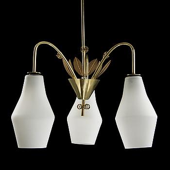 PAAVO TYNELL, ceiling lamp, model K1-9/L, Idman, 1950s. Height ca 90 cm.