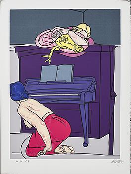 VALERIO ADAMI, färgserigrafi, signerad och numrerad XX.XX ea.
