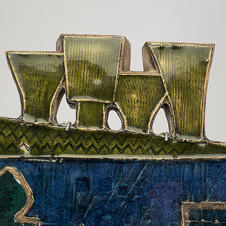 A rut bryk glazed stoneware wall relief 'venetian palace' for arabia, finland 1953.