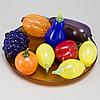 Frukter, 9 + 1 st, glas, gunnel sahlin samt fat erik höglund, kosta boda. signerade.