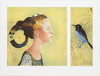 """DORINA MOCAN, """"Hon som talar med fåglar"""", litograph, signerad och numrerad 83/200."""