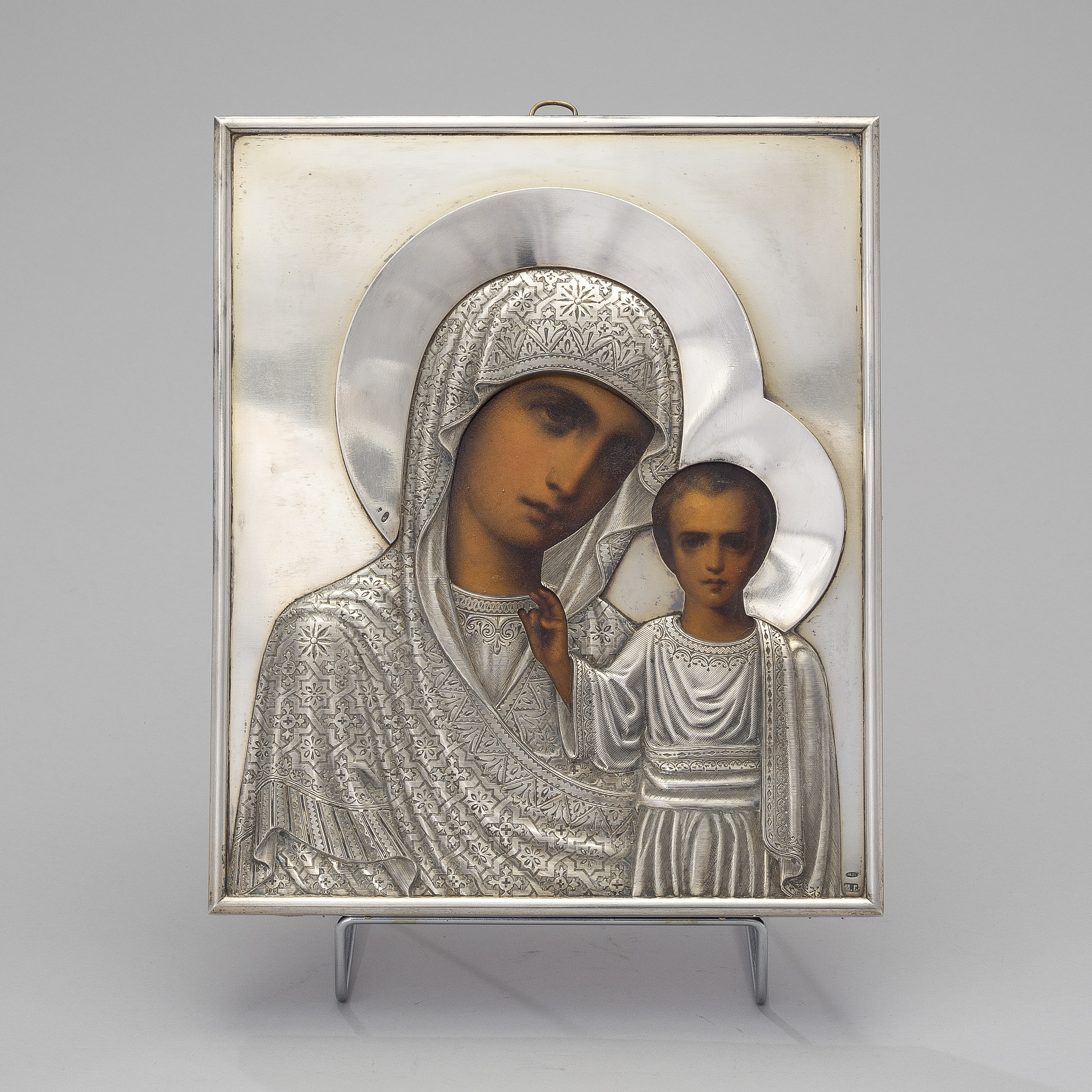 A Russian icon with silver riza of Imperial Purveyor Morozov