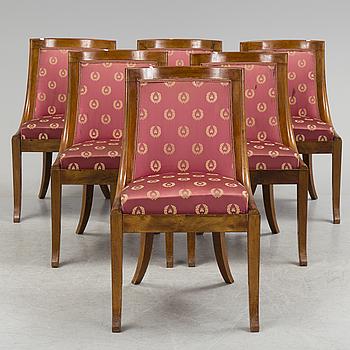 EMPIRE, A set of six empire mahogony chairs.