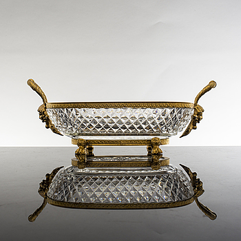 EMPIRE, A 19th century Empire glass and bronze bowl.