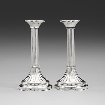 102. A pair of Swedish 18th century silver candlesticks, mark of Anders Brandt, Norrköping 1784.