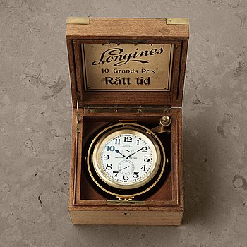"LONGINES, ""Rätt Tid"", Chronometer, bordsur, 154 x 153 x 105 mm,"