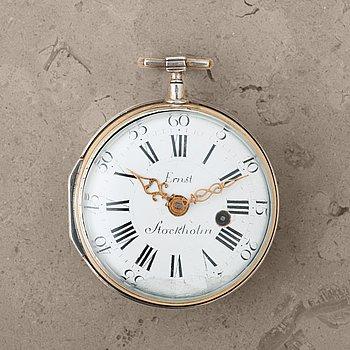 102. PETTER ERNST (1714-1784), Stockholm, pocket watch, 60,5 mm,