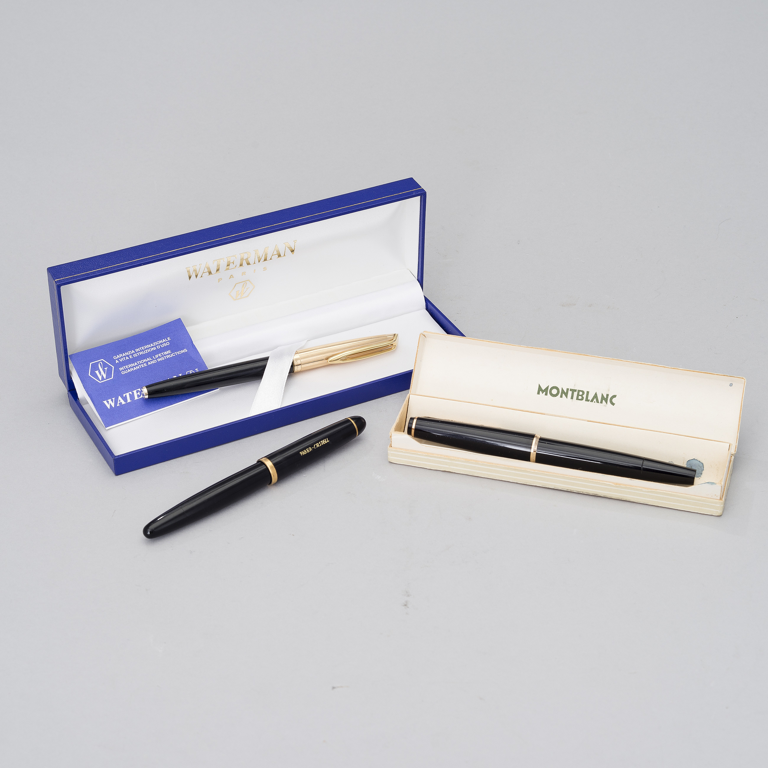 FOUNTAIN PENS, 3 pcs, Mont Blanc, Faber-Castell and Waterman