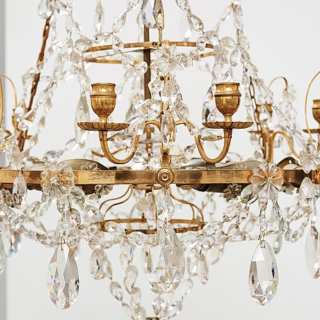 A gustavian late 18th century six-light chandelier.