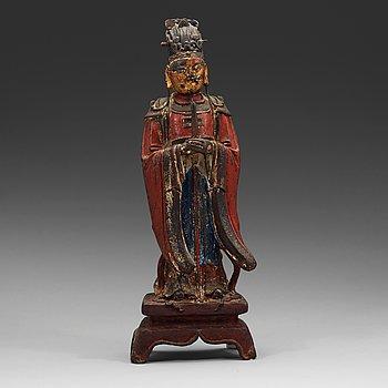 295. SKULPTUR, brons. Daoistisk dignitär, Mingdynastin (1368-1644).