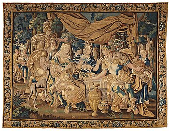 """202. A TAPESTRY, """"Cleopatra´s banquet"""", tapestry weave, ca 281,5 x 370 cm, Flanders 17th century."""
