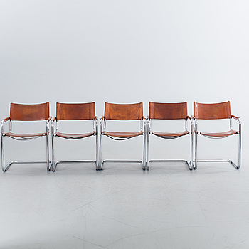 FIVE LATE 20TH CENTURY ARMCHAIRS.