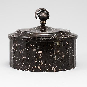 EMPIRE, A Swedish Empire 19th century porphyry butter box.