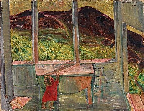 """Vera nilsson, """"ute och inne/lillan på verandan""""."""