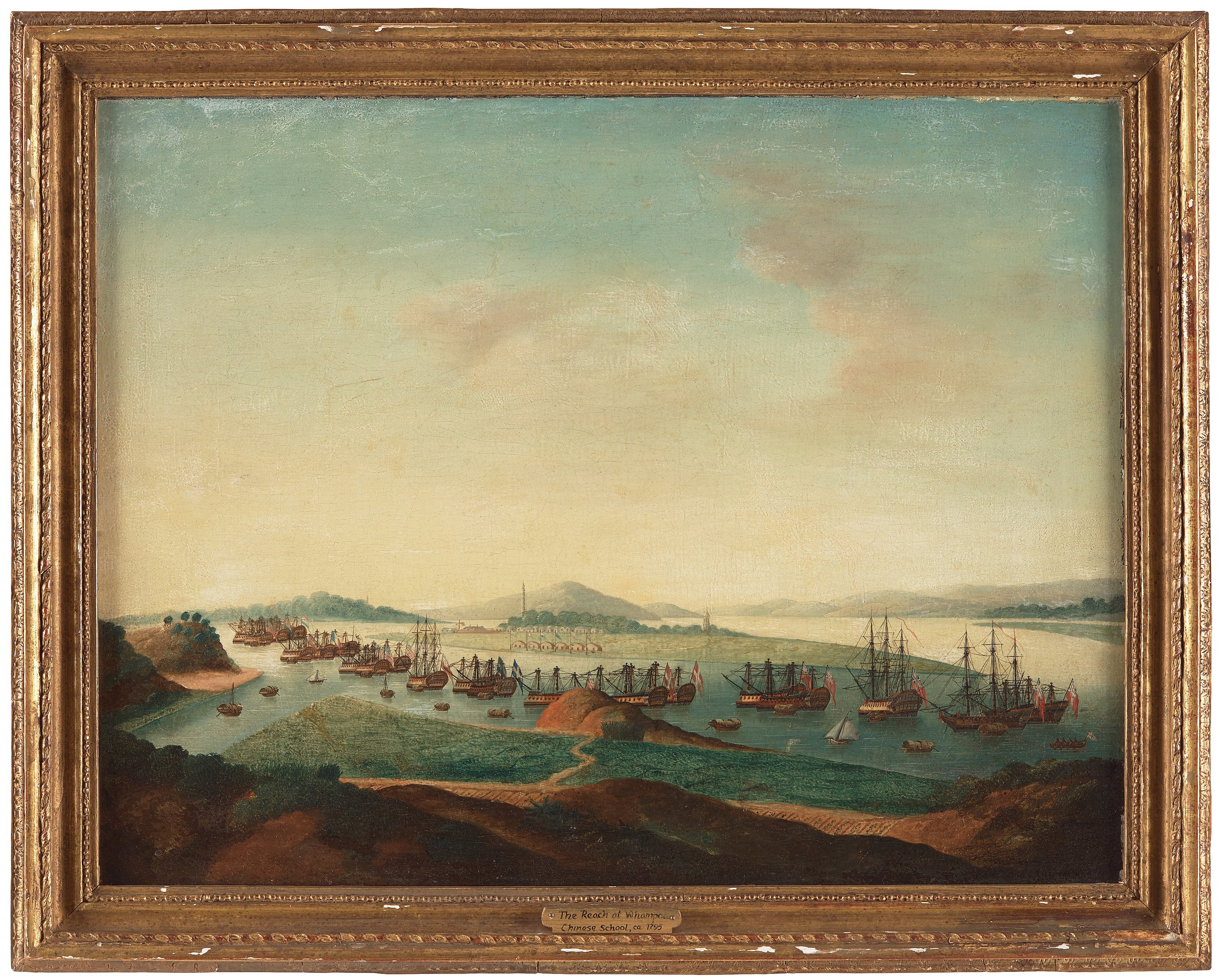 a china trade oil painting of whampoa anchorage by an unknown artist