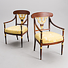 A pair of armchairs, empire, russia early 19th century.