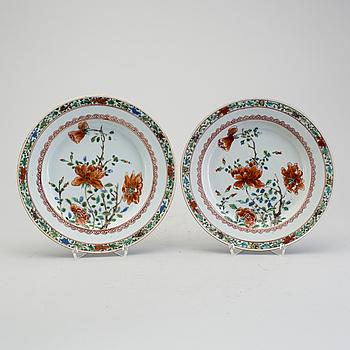 TALLRIKAR, ett par, porslin, Kina, Qianlong (1736-1795).
