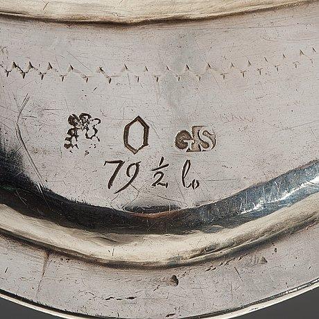 A swedish mid 18th century silver dish, mark of gustaf stafhell, stockholm 1750.