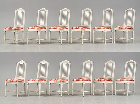 A set of twelve gustavian late 18th century chairs.