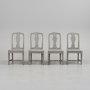 A set of four late Gustavian chairs, 19th century.