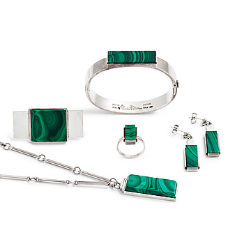 A Wiwen Nilsson set of six pieces of silver and malachite jewellery, Lund Sweden 1934-66.