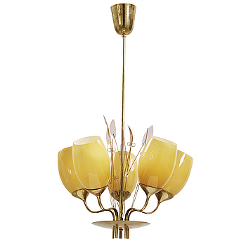A Paavo Tynell model 9029 brass and glass ceiling lamp by Taito OY, Finland, ca 1950.