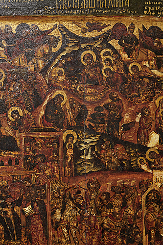 A russian icon of the nativity possibly late 17th century,