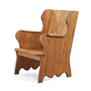 An Axel Einar Hjorth stained pine 'Lovö' armchair, Nordiska Kompaniet, Sweden 1930's.