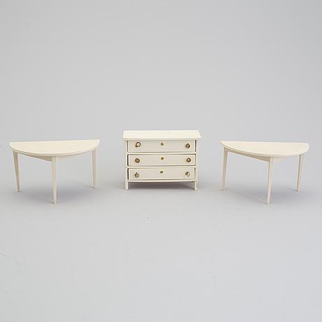 A lot of 15 pieces of doll house furniture by berit bergström, nolbyn, värmländskt hantverk, first half of the 20th cent.