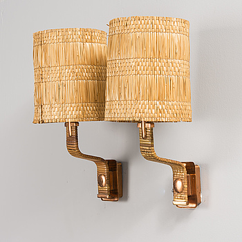 PAAVO TYNELL, A PAIR OF WALL LAMPS. Marked Taito. 1940-1950s.