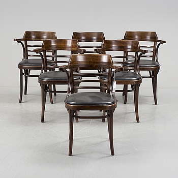 A set of six armchairs, 20th century.