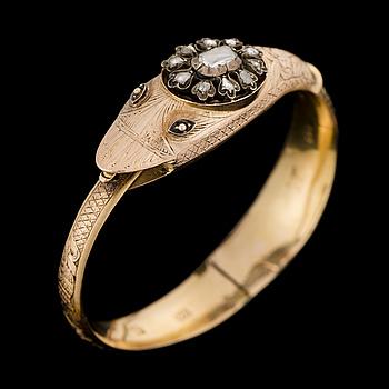 ARMBAND, rosenslipade diamanter, 14K (56) guld. Vilnius 1848.