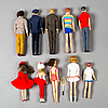 A lot of 10 barbie and friends dolls, mattel, 1960/70s.