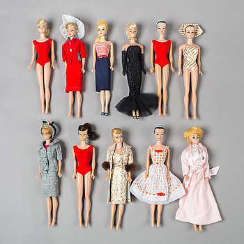 A lot of eleven Barbie dolls, Mattel, 1960s.