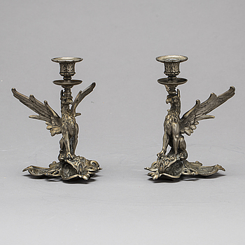 A PAIR OF CANDELSTICKS, Ca 1900.