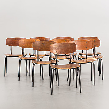 10 PCS OF CHAIRS, Denmark second half of the 20th century.