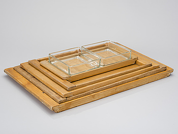 "AINO AALTO, ""MAIJA"" COLD-CUT PLATTER AND A SET OF FIVE TRAYS. Designed in 1936."