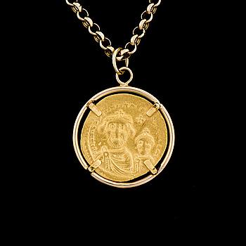 HÄNGE, infattat mynt 20K guld, Bysantinska riket.
