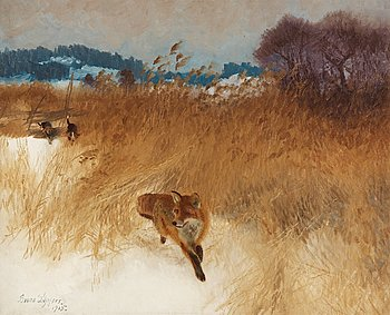 154. Bruno Liljefors, Fox hunt with dogs.