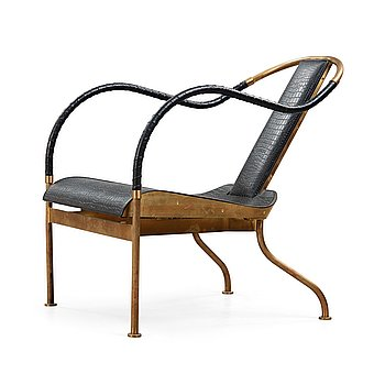8. Mats Theselius, A Mats Theselius brass and leather 'El Rey' easy chair, Källemo, Sweden post 1999.
