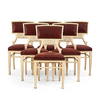 Modern art nouveau furniture Art Craft Design Movement Ferdinand Boberg Set Of Six Ferdinand Boberg Art Nouveau Chairs Sweden Bukowskis Modern Art Design Bukowskis