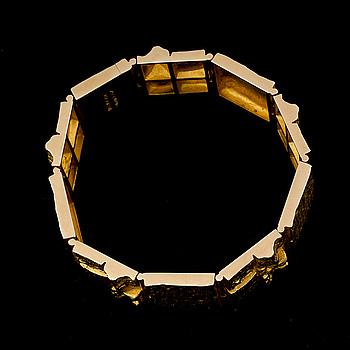 BJÖRN WECKSTRÖM,  ARMBAND, Quadrate Forms, 14K guld. Lapponia 1970.