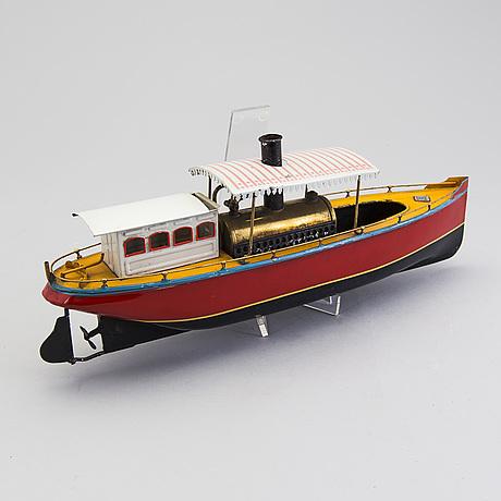 A tinplate gebrüder bing river steam boat, germany, 1910s.