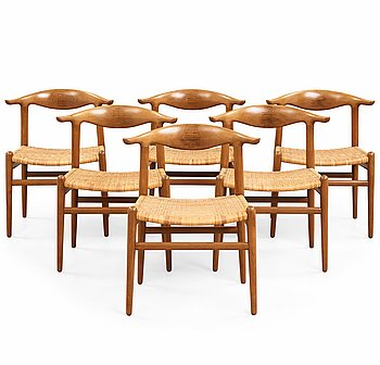 169. HANS J WEGNER, A set of six Hans J. Wegner 'cowhorn'chairs' 'JH-505, executed by cabinetmaker Johannes Hansen, Denmark 1950-60.