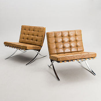 "LUDWIG MIES VAN DER ROHE, A PAIR OF ARMCHAIRS. ""Barcelona"". Knoll International, 1970s."