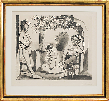 "PABLO PICASSO, PABLO PICASSO, after, ""Bacchanale"", a signed and numbered 238/250 aquatint."