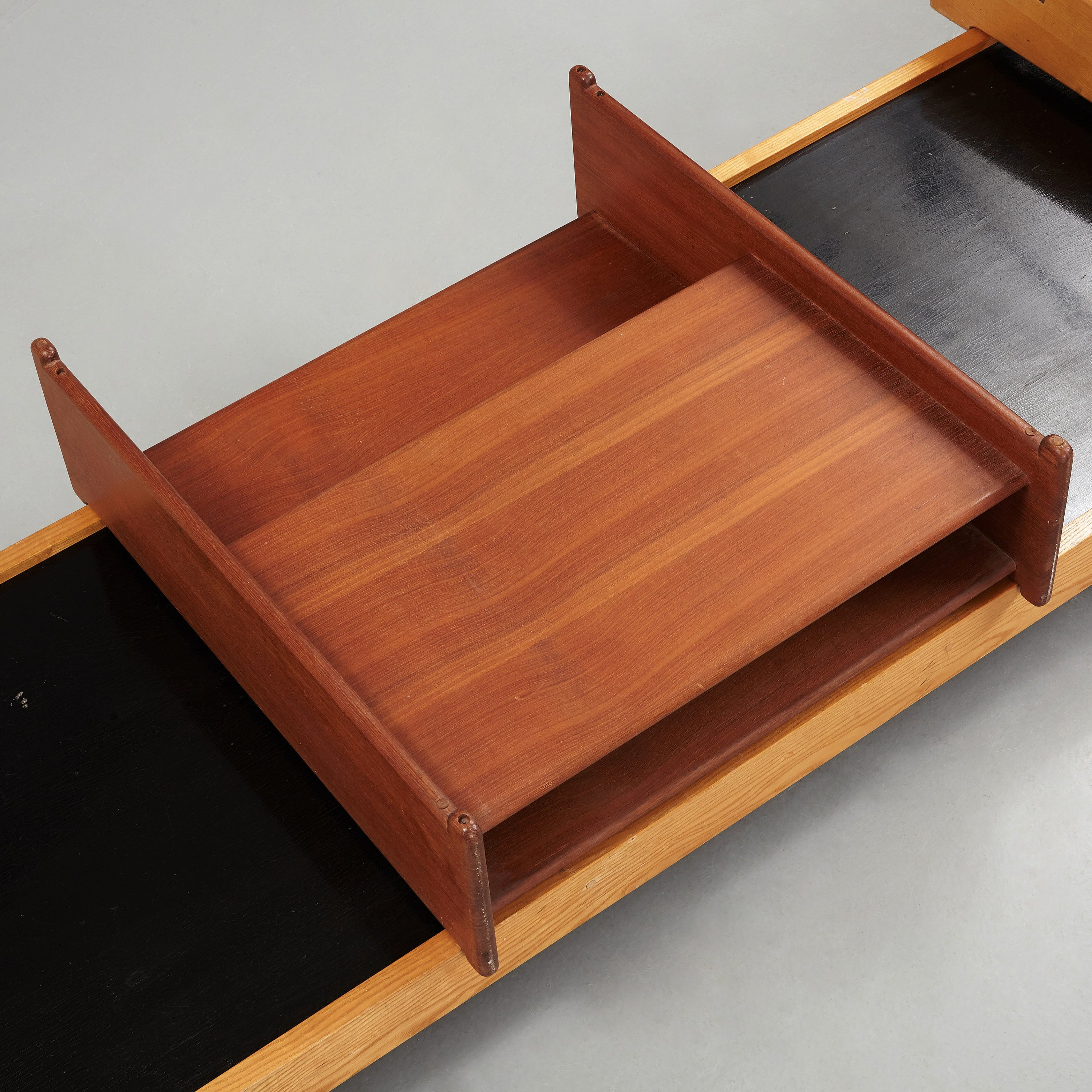 Pæn A Torsten Johansson bench with a chair and a table, A.J Iversen LE36