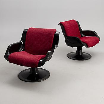 YRJÖ KUKKAPURO, YRJÖ KUKKAPURO, a pair of armchairs, model 3814-KF, Haimi 1960/1970s.