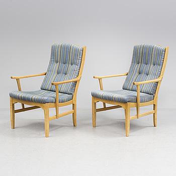 "CARL MALMSTEN, karmstolar, ett par, ""Vapensmeden"", O.H. Sjögren, 1900-talets andra hälft."