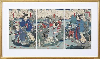 UTAGAWA KUNISADA KOCHORO TOYOKUNI III, UTAGAWA KUNISADA KOCHORO TOYOKUNI III, Three japanese woodcuts.